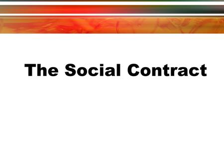 The Social Contract.