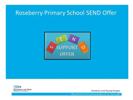 15/18/2015 Roseberry Primary School SEND Offer. Roseberry Primary School Core Offer All children could have access to: Breakfast club After school clubs.
