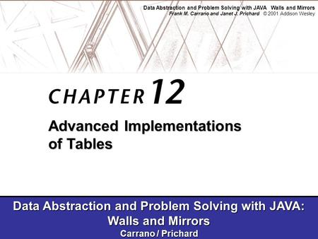 Data Abstraction and Problem Solving with JAVA Walls and Mirrors Frank M. Carrano and Janet J. Prichard © 2001 Addison Wesley Data Abstraction and Problem.