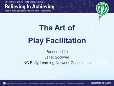 The Art of Play Facilitation Brenda Little Janet Sockwell NC Early Learning Network Consultants.