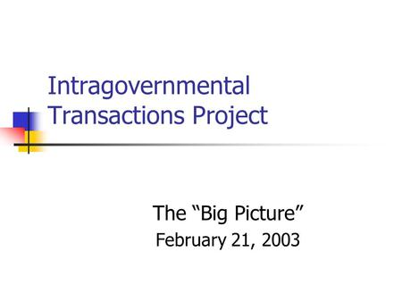 "Intragovernmental Transactions Project The ""Big Picture"" February 21, 2003."