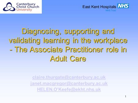 1 Diagnosing, supporting and validating learning in the workplace - The Associate Practitioner role in Adult Care