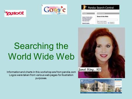 Searching the World Wide Web Information and charts in this workshop are from pandia.com Logos were taken from various web pages for illustration purposes.