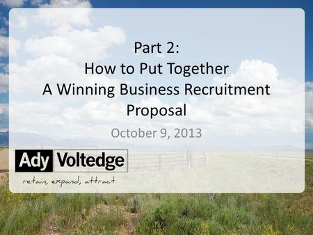©2013 Ady Voltedge Part 2: How to Put Together A Winning Business Recruitment Proposal October 9, 2013.