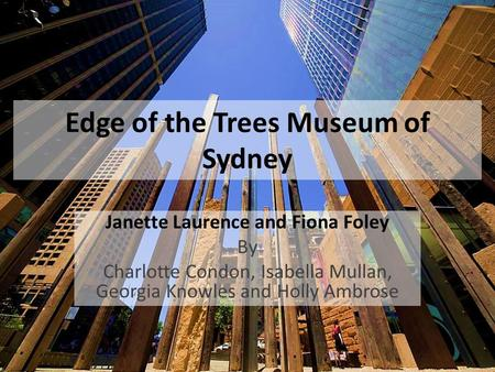 Edge of the Trees Museum of Sydney