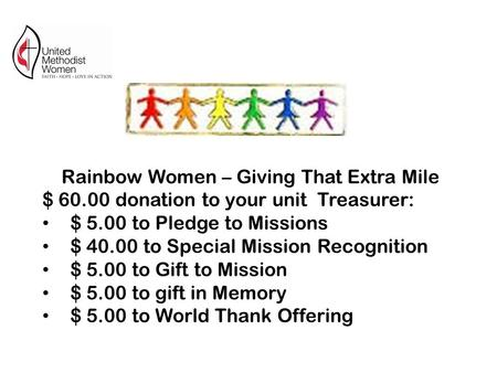 Rainbow Women – Giving That Extra Mile $ 60.00 donation to your unit Treasurer: $ 5.00 to Pledge to Missions $ 40.00 to Special Mission Recognition $ 5.00.