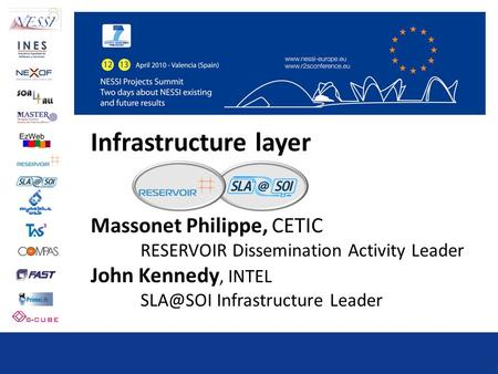Infrastructure layer Massonet Philippe, CETIC RESERVOIR Dissemination Activity Leader John Kennedy, INTEL Infrastructure Leader.
