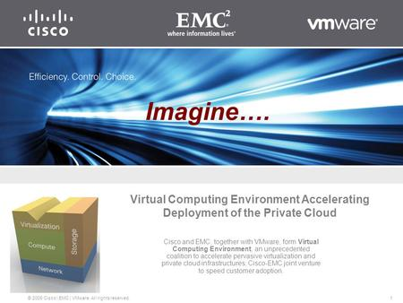 1 © 2009 Cisco | EMC | VMware. All rights reserved. Virtual Computing Environment Accelerating Deployment of the Private Cloud Cisco and EMC, together.