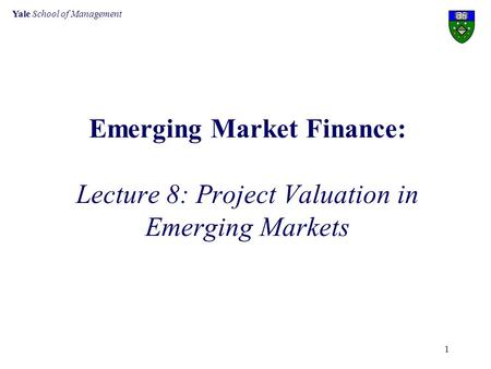 Yale School of Management 1 Emerging Market Finance: Lecture 8: Project Valuation in Emerging Markets.