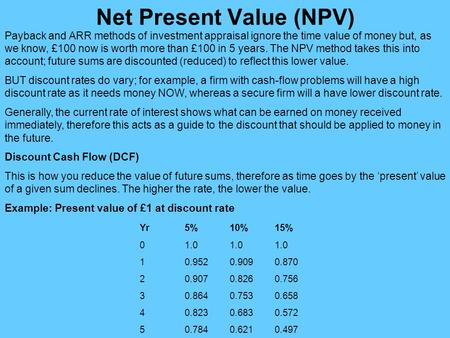 net present value The discounted value of an investment's cash inflows minus the discounted value of its cash outflows to be adequately profitable, an investment should have a net present value greater than zero.