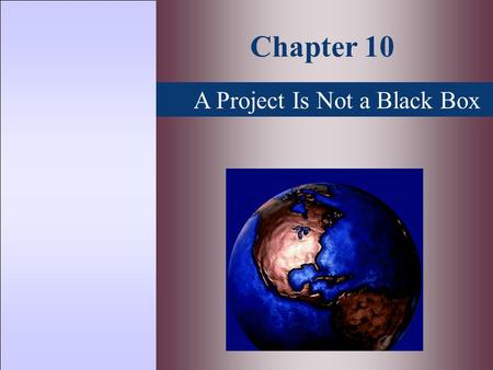 A Project Is Not a Black Box Chapter 10. Topics Covered  Sensitivity Analysis  Break Even Analysis  Monte Carlo Simulation  Decision Trees.