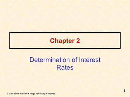 Determination of Interest Rates