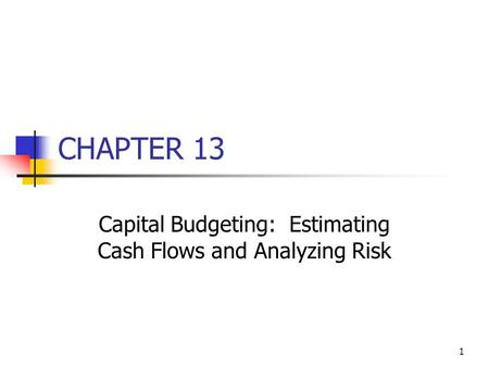 1 CHAPTER 13 Capital Budgeting: Estimating Cash Flows and Analyzing Risk.