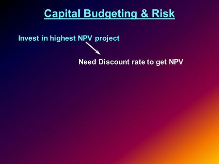 financial growth risk npv