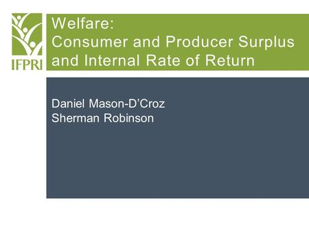 Welfare: Consumer and Producer Surplus and Internal Rate of Return Daniel Mason-D'Croz Sherman Robinson.