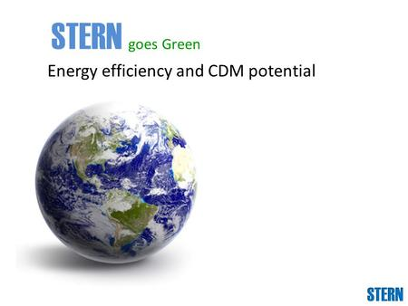 Energy efficiency and CDM potential STERN goes Green.