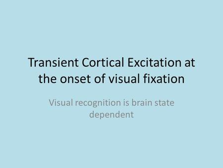 Transient Cortical Excitation at the onset of visual fixation Visual recognition is brain state dependent.