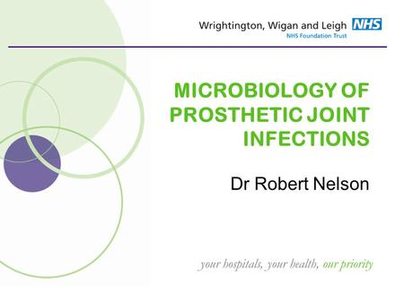 Your hospitals, your health, our priority MICROBIOLOGY OF PROSTHETIC JOINT INFECTIONS Dr Robert Nelson.