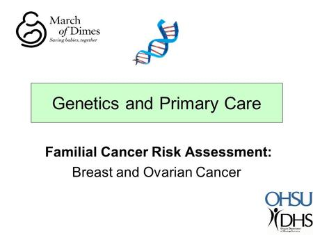 Familial Cancer Risk Assessment: Breast and Ovarian Cancer Genetics and Primary Care.