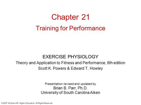Chapter 21 Training for Performance