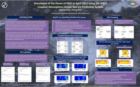 Simulation of the Onset of MJO in April 2011 using the NAVY Coupled Atmosphere-Ocean-Sea Ice Prediction System Melinda Peng 1, Chaing Chen 2 1 Naval Research.