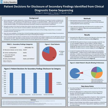 Patient Decisions for Disclosure of Secondary Findings Identified from Clinical Diagnostic Exome Sequencing Gonzalez K 1, Shahmirzadi L 1, Palmaer E 1,