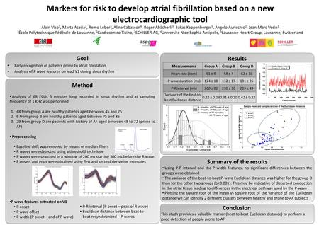 Markers for risk to develop atrial fibrillation based on a new electrocardiographic tool Alain Viso 1, Marta Aceña 2, Remo Leber 3, Aline Cabasson 4, Roger.