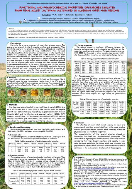 FUNCTIONAL AND PHYSICOCHEMICAL PROPERTIES OFSTARCHES ISOLATED FROM PEARL MILLET CULTIVARS CULTIVATED IN ALGERIAN HYPER ARID REGIONS N. Boudries 1. 2. 3.