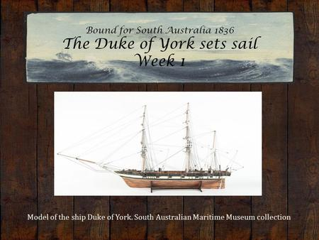 Bound for South Australia 1836 The Duke of York sets sail Week 1 Model of the ship Duke of York. South Australian Maritime Museum collection.