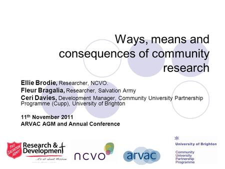 Ways, means and consequences of community research Ellie Brodie, Researcher, NCVO. Fleur Bragalia, Researcher, Salvation Army Ceri Davies, Development.