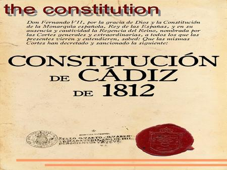 History of Constitution The Spanish Constitution of 1812, popularly known as La Pepa, was enacted by the Parliament of Spain on March, 19th, 1812 in Cadiz.