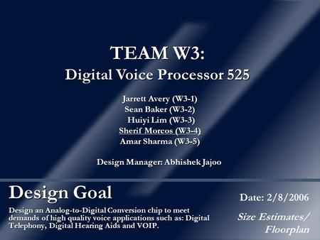 Design Goal Design an Analog-to-Digital Conversion chip to meet demands of high quality voice applications such as: Digital Telephony, Digital Hearing.