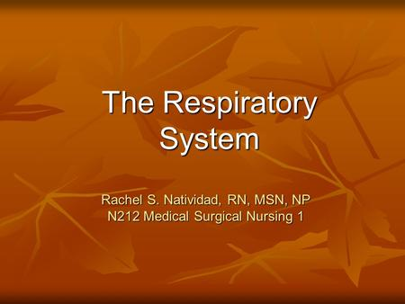 Rachel S. Natividad, RN, MSN, NP N212 Medical Surgical Nursing 1 The Respiratory System.