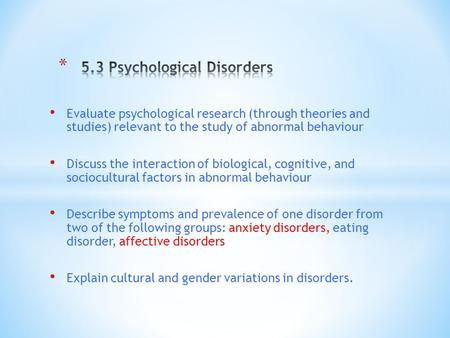 5.3 Psychological Disorders