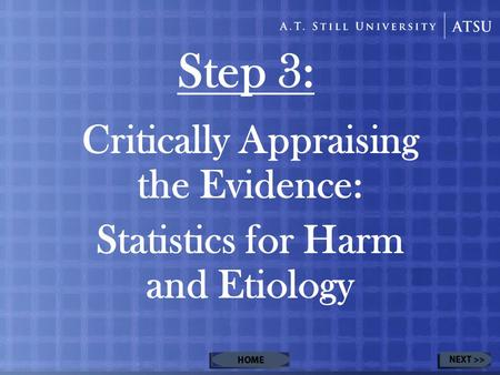 Step 3: Critically Appraising the Evidence: Statistics for Harm and Etiology.