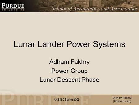 Lunar Lander Power Systems