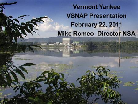 Vermont Yankee VSNAP Presentation February 22, 2011 Mike Romeo Director NSA.