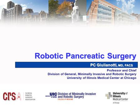 Robotic Pancreatic Surgery
