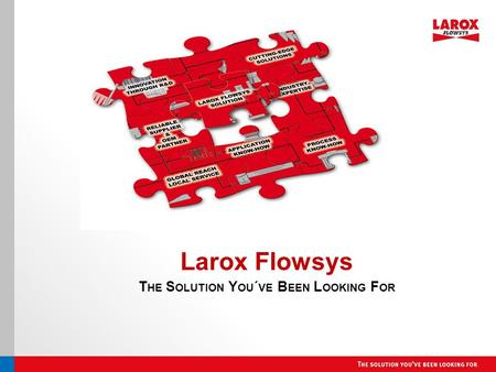 Larox Flowsys T HE S OLUTION Y OU ´ VE B EEN L OOKING F OR.