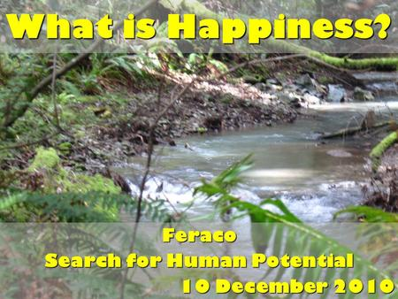 What is Happiness? Feraco Search for Human Potential 10 December 2010.