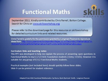 Functional Maths Curriculum links and teaching notes This PPT was developed to help me explain the process of answering open questions in Functional Maths.