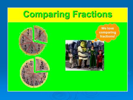 Comparing Fractions We love comparing fractions!.