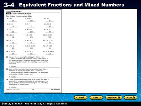Holt CA Course 1 3-4 Equivalent Fractions and Mixed Numbers.