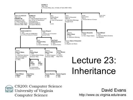 David Evans  CS200: Computer Science University of Virginia Computer Science Lecture 23: Inheritance.