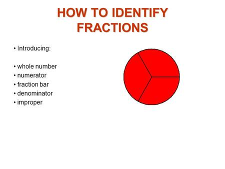 HOW TO IDENTIFY FRACTIONS Introducing: whole number numerator fraction bar denominator improper.