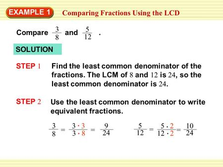 EXAMPLE 1 Comparing Fractions Using the LCD SOLUTION Find the least common denominator of the fractions. The LCM of 8 and 12 is 24, so the least common.