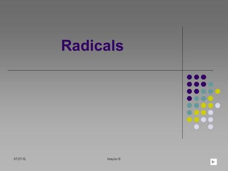 Radicals 07/27/12lntaylor ©. Table of Contents Learning Objectives Parts of a Radical Simplifying Radicals Radical Expressions Estimating Radicals Practice.