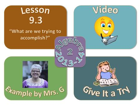 Objective Video Example by Mrs. G Give It a Try Lesson 9.3  Graph rational function that cannot be written in transformational form.