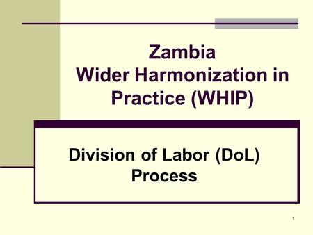 1 Zambia Wider Harmonization in Practice (WHIP) Division of Labor (DoL) Process.