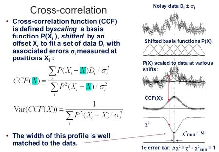 Cross-correlation Cross-correlation function (CCF) is defined byscaling a basis function P(X i ), shifted by an offset X, to fit a set of data D i with.